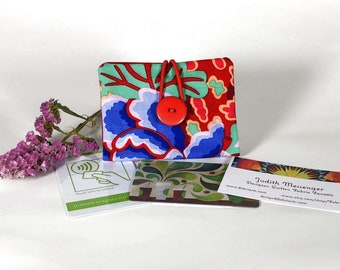 Credit Card Wallet, Gift Card Holder, Business Card Purse, Loyalty Card Pouch, Kaffe Fasset Red and Blue Floral Print  Little Wallet