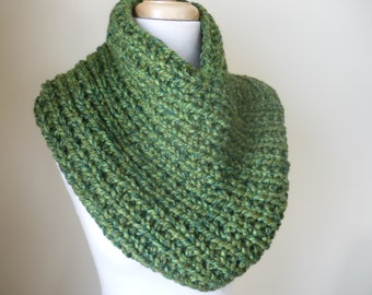 Knit Cowl, Knit Neck Warmer, Textured Rib Stitch Cowl Neck Warmer in Green Tones - Wool Blend - Soft Cowl - Warm Cowl - Gift for Her