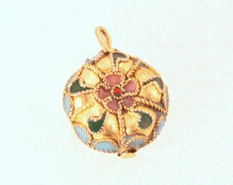 Vintage Round Gold Wire Work Glass Pendant Floral Charm Fob Green Pink Blue
