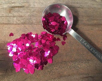 Heart Confetti Pink Party Decorations Tiny Metalic Heart Confetti Table Decor  Crafting Wedding Decor Baby Bridal Shower Pink Gender Reveal