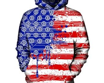 USA Bitcoin Flag Hoodie | Rave, EDM, Festival Hoodie