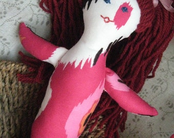 CLOTH DOLL with hair-hand made