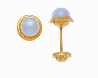 Real 18k solid gold earrings for girls, girl and woman and with natural pearl 4mm 18k Solid Gold Stud Earrings with natural pearl