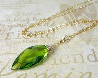 Peridot Quartz Necklace, Layering Length, Bright Green Stone Pendant, Gold Filled or Sterling Silver, August Birthday Gift, Handmade Jewelry