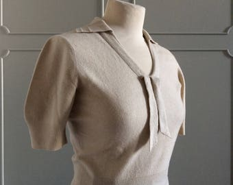 1950s Sweater - Sailor Ties - Cashmere cream - Good Condition - Size S