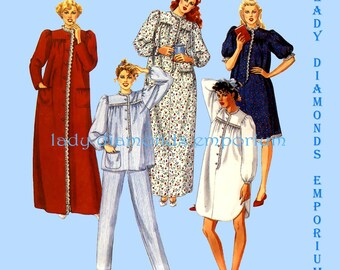 McCalls 2191 Womens Pajamas Robe Nightgown Nightshirt Pants Top size 14 16 18 Bust 36 38 40 Vintage 80's Sewing Pattern P922 Uncut FF