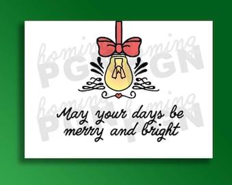 Merry & Bright Christmas Digital Graphic