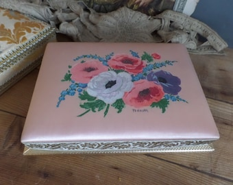 Vintage French fabric covered box  hand painted anemones flowers  Boudoir style