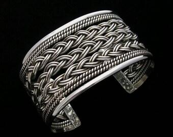 Silver cuff bracelet Cuff bracelets for women Mexican jewelry Solid silver bracelet Large silver bracelet cuff Textured cuff silver Taxco