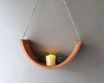 Hanging Ceramic Wall Air Plant Cradle Candle Holder Planter Vase - Natural TerraCotta