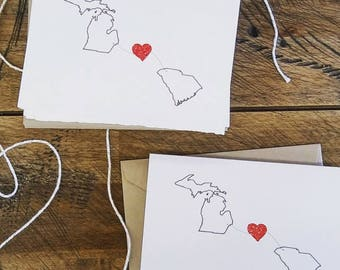 State Love notecards, love two states, Heart in two states, Deckle edge notecards