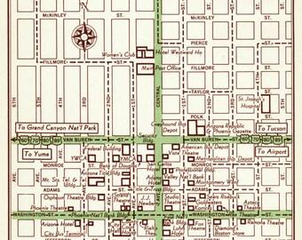 Phoenix Arizona Map, Phoenix Street Map, Phoenix Vintage Map, Phoenix Map Decor, Phoenix Map Art, Phoenix Wedding Gift, Phoenix Wall Art