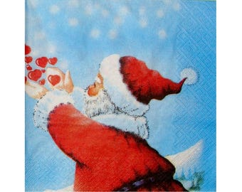 Set of 3 paper napkins NOE033 Santa Claus with red hearts