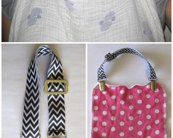 NURSING COVER CLIP - Breastfeeding Cover Clip- Bib Clip- Stroller Clip - Toy Leash- Nursing Cover- Adjustable Strap- Baby Gift- New Mom Gift