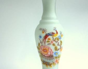Minimalist Bud Vase, Vases,  Flower Vase, White Vase, Bird and Floral Design, White Satin Vase,