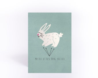 Good luck card. Lucky Rabbit's Feet