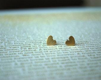 Tiny Heart Studs -- Brass Heart Studs, Gold Heart Studs, Cute Little Heart Earrings, Heart Jewelry
