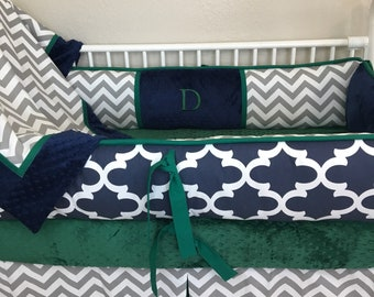 Emerald green fitted crib sheet minky dot only nursery