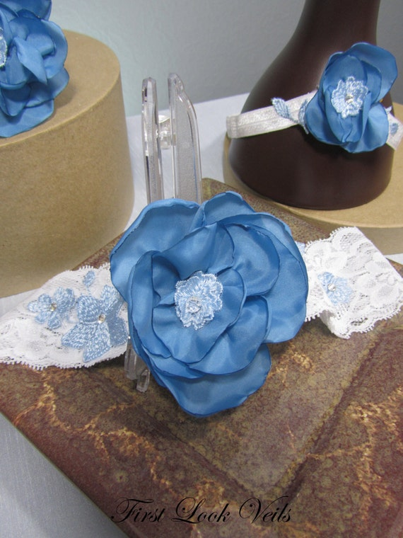 Bridal Garter Set, Wedding Accessories, Bridal Something Blue, Blue Satin Flowers, Bridal Accessories, Bridal Attire, Bridal Accessory, Gift