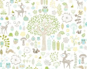 Fabric, WOODLAND, tree, forest, animals