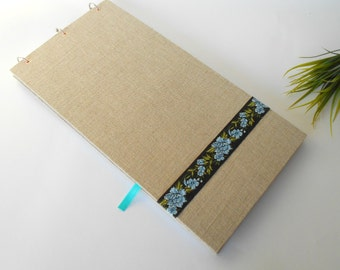 Landscape sketchbook- hardcover fabric sketchbook journal with 200 pages-rustic sketchbook- personilized journal with album rings-2:1 format