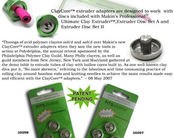 Complete set of Makin's clay core extruder adapter 6 piece set sized from 1mm to 4.5mm & save