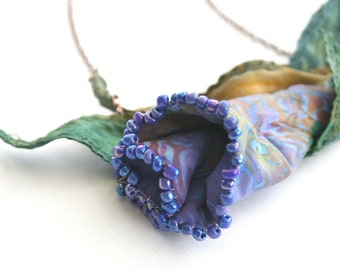 Necklace Beaded Batik Fabric Lily  - Soft Sculpture Flower in Moss and Purple Tones with Fabric Leaves
