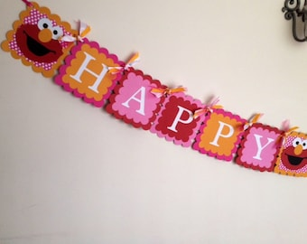 Girly Elmo Pink and Red Happy Birthday Banner