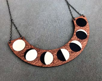 Moon Phase Necklace - Wood Inlay Marquetry Lunar Statement Minimalist Space