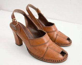 cognac 1970's vintage VEGAN platform peeptoe SLINGBACK sandal sz 6