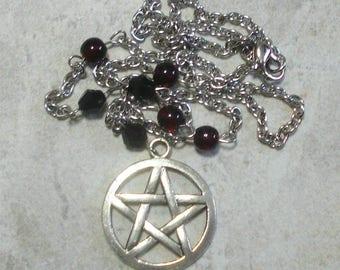 Pentagram Necklace Pentacle Dark Garnet Red And Black