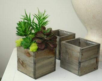 Wood box wooden boxes vase succulent planter wedding
