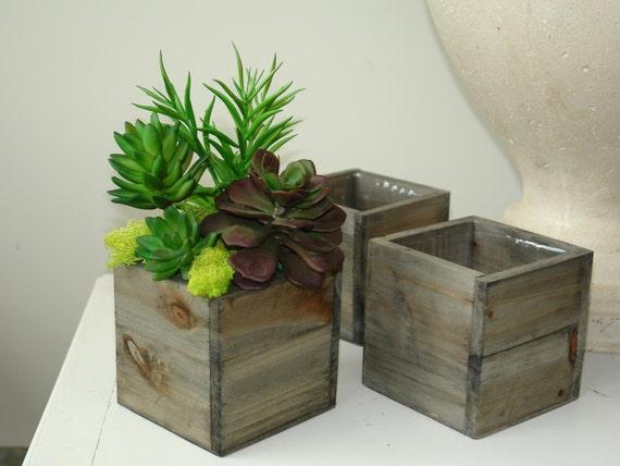 Wood box boxes square vase succulents wedding flower