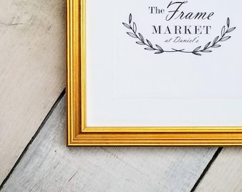 Plein Air Gold 5/8'' Wood Picture Frame with White Mat 8x10, 9x12, 11x14, 14x16, 16x20 Custom Standard and custom sizes available.