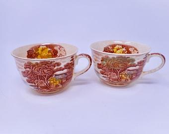 Vintage Pair Nasco Mountain Woodland Coffee Cups Woodland China Dinner Nasco Japan Woodland Transferware