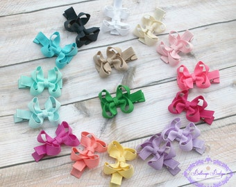 Newborn hair bows, hair  bow set, baby girl hair bows, 6 tiny hair bows, bitty hair bows, small hair bows, itty bitty hair bow, boutique bow