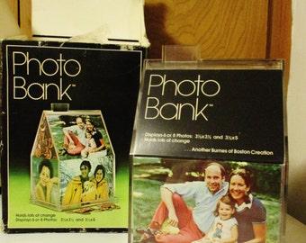 NIB 1978 Plastic Photo Bank House Shape Coin Pictures Memories