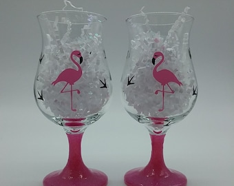 Flirty Flamingo glitter stem glasses