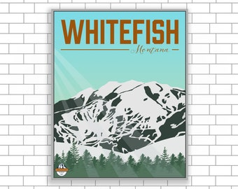 Whitefish, Montana, Whitefish Canvas, Ski Resort, Ski Resort Canvas, Mountain Art, Visit Whitefish, Modern Illustration, Home Decor