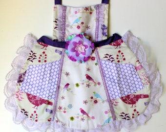 Purple Birdie Apron, toddler apron, girls apron