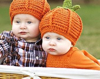 Halloween Baby Hat Crochet  Pumpkin Hat Costume Handmade 6 - 12 Months