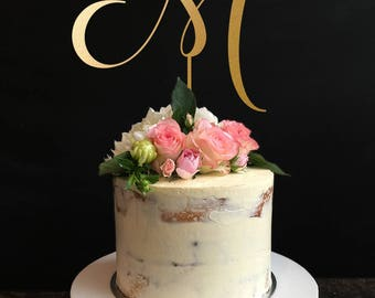 Single Letter Monogram Wedding Cake Topper with your Initial,Personalized Cake Topper for Wedding, Anniversary, Birthday