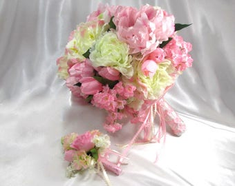 Pale Pink, Cream and White Peony Bridal Bouquet and Boutonniere Set ready to ship