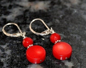 Coral Earrings, Silver Earrings, Red Earrings, Lever Backs, Sterling Silver, Gemstone Earrings, Fashion Jewelry