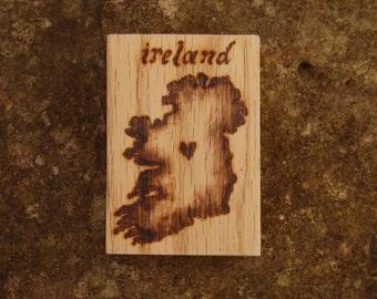 """Ireland Map - Woodburned Wood Medallion - 2.5 x 1.75"""" Magnet"""