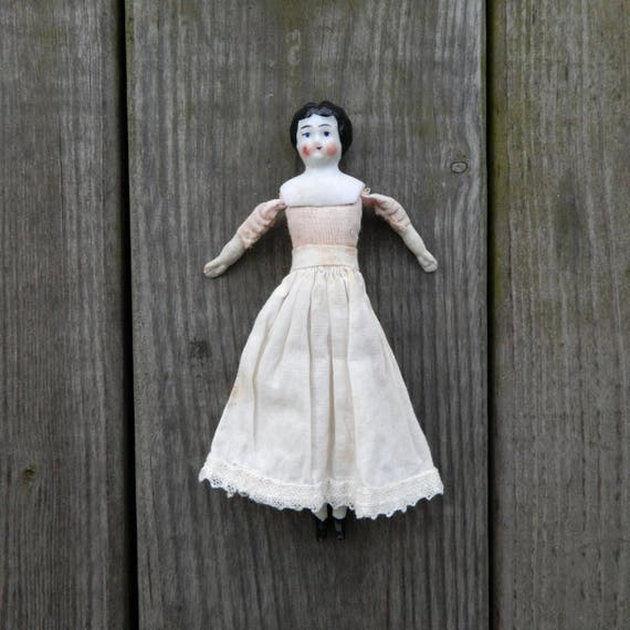 """Antique China and Cloth Doll 6"""" Germany"""