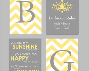 Bathroom Wall Art, Bathroom Art, Bathroom Decor, Bathroom Prints, Yellow and Grey Bathroom, Gray Bathroom Art Chevron Monogram Prints