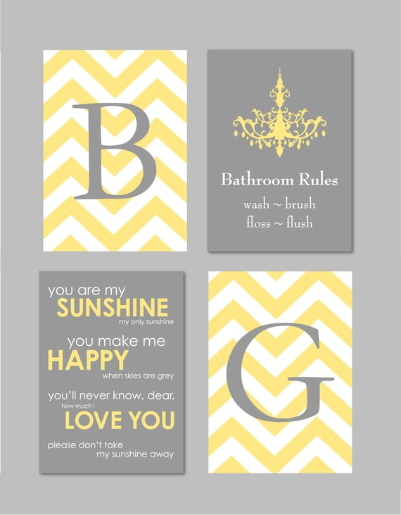 Kids Bathroom Wall Art Yellow and Grey Bathroom Wall Art