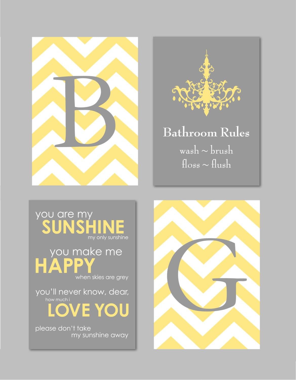 Bathroom Wall Art, Yellow and Gray Decor, Bathroom Rules Sign, Bathroom Decor, You Are My Sunshine, Monogram Prints Set of 5x7s Any Colors