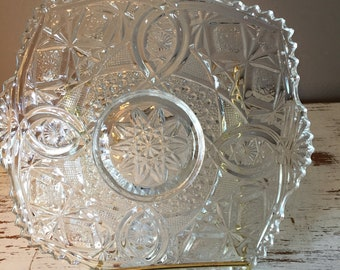 Vintage pressed / cut? glass in round serving piece with scalloped edges / raised platter, tray
